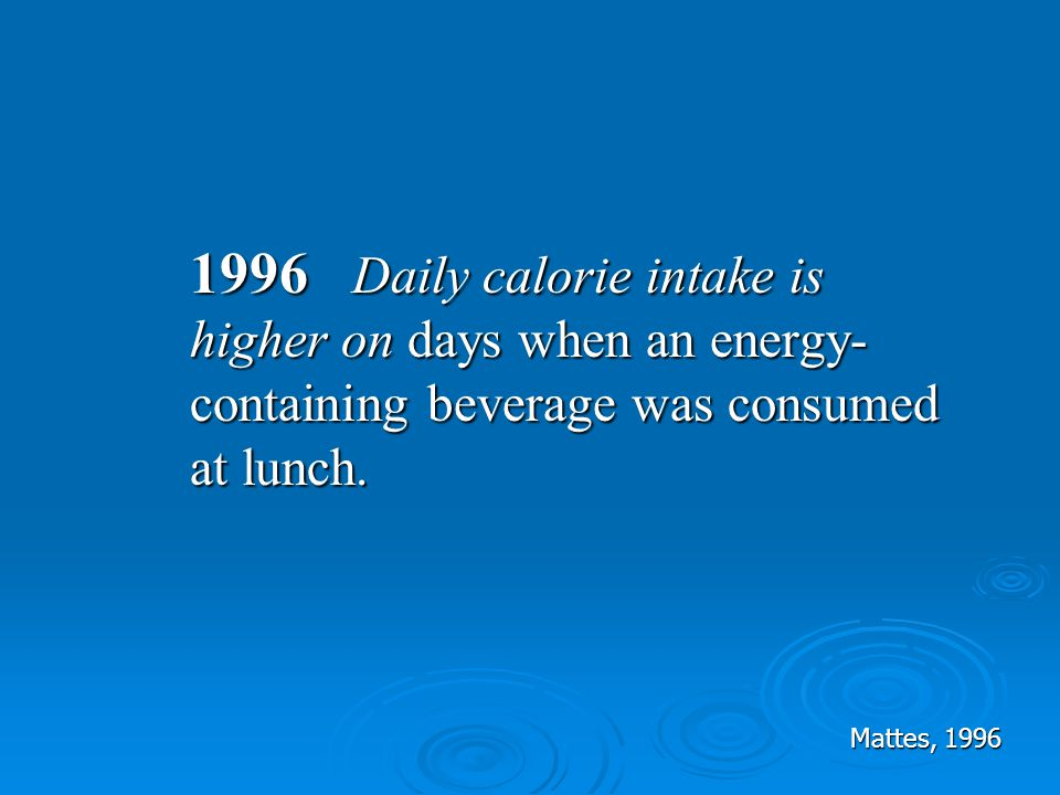 1996 Daily calorie intake is higher on days when an energy-containing beverage was consumed at lunch.