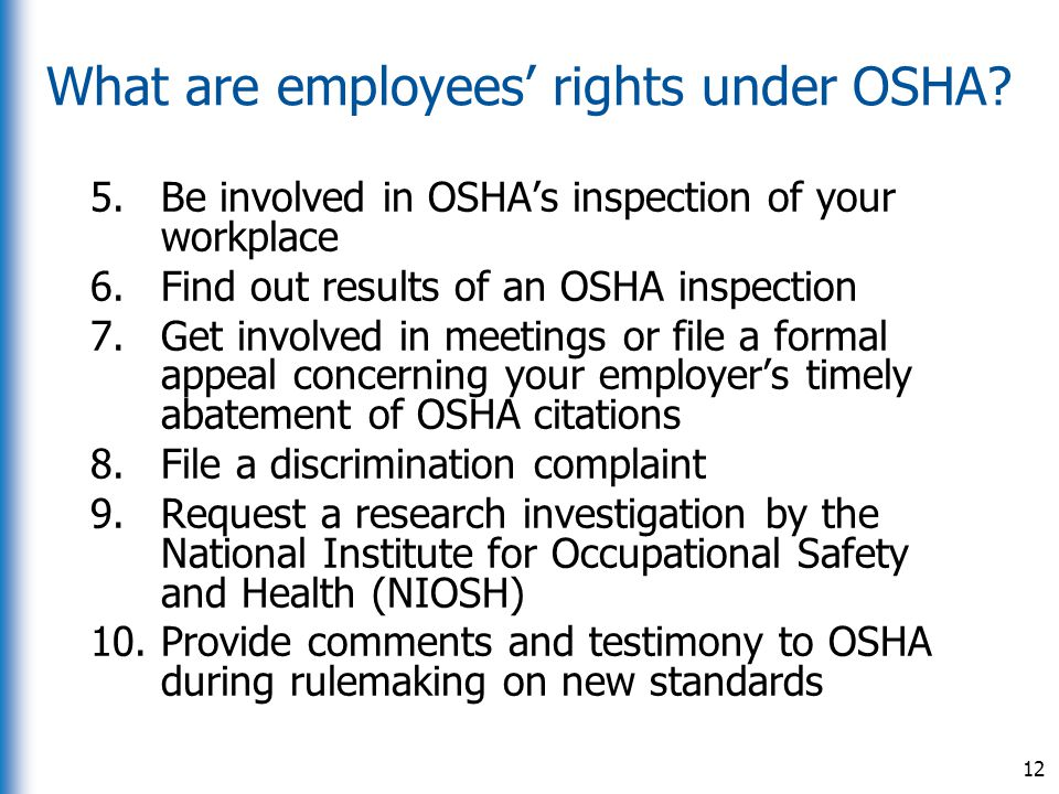 What are employees' rights under OSHA
