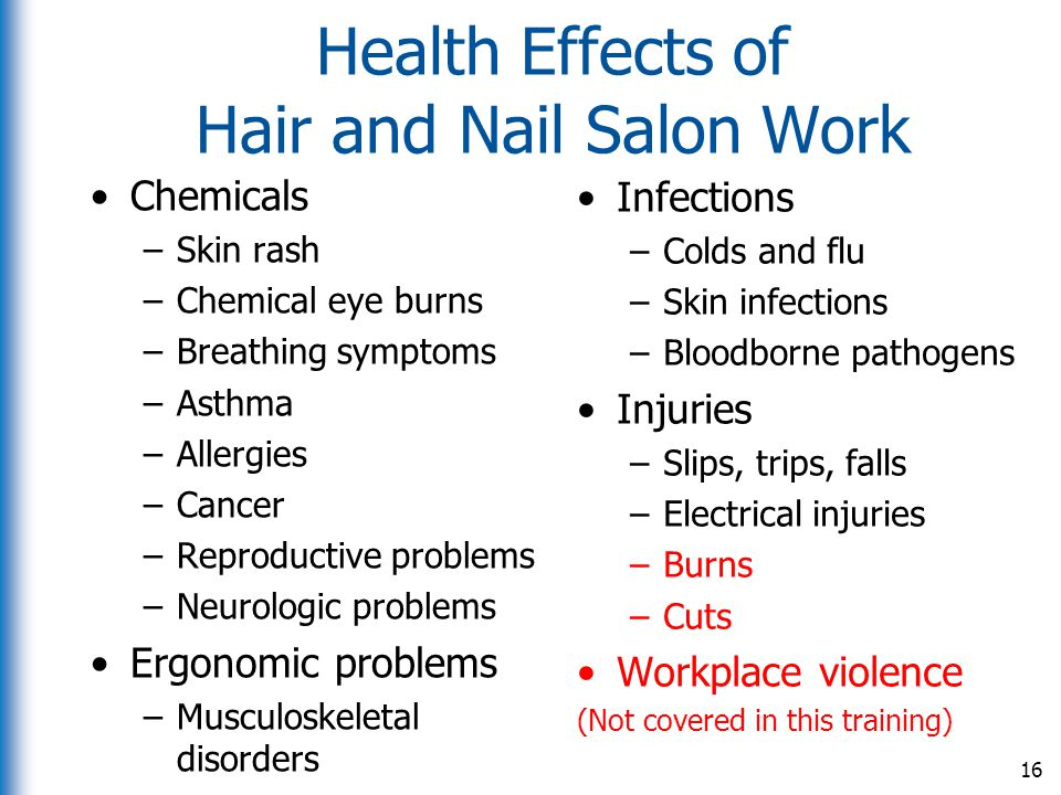 Health Effects of Hair and Nail Salon Work
