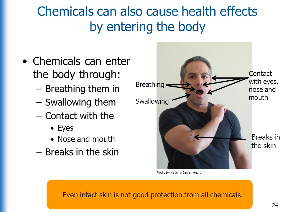 Chemicals can also cause health effects by entering the body