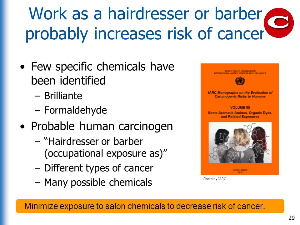 Work as a hairdresser or barber probably increases risk of cancer