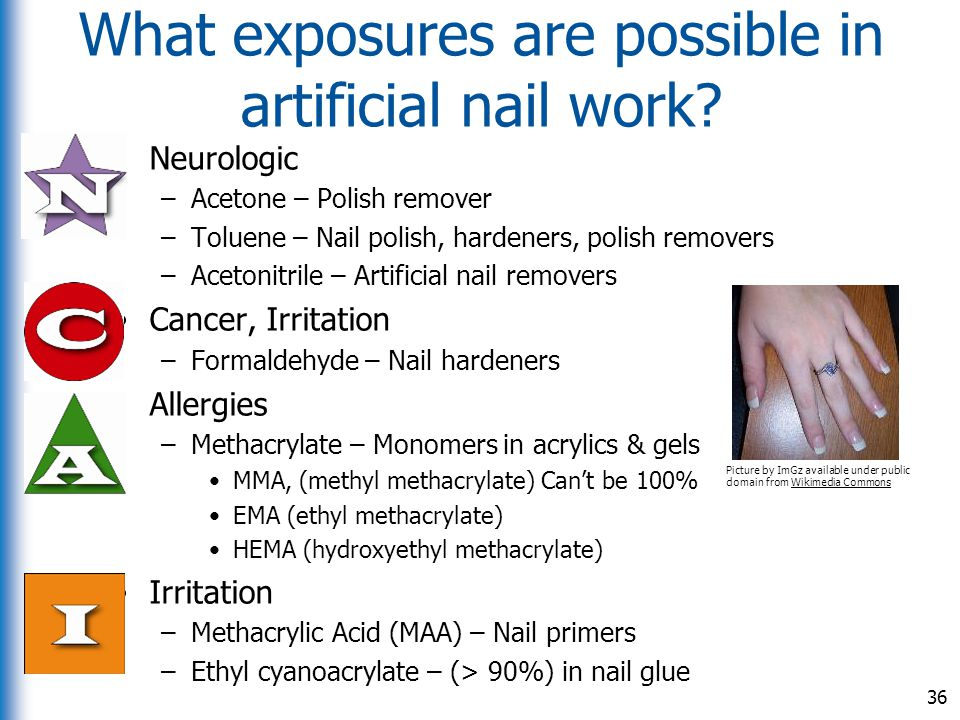 What exposures are possible in artificial nail work