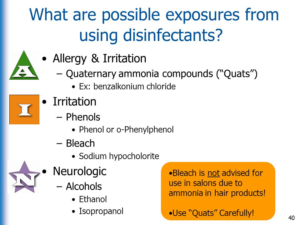 What are possible exposures from using disinfectants