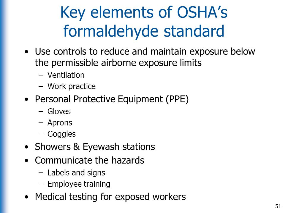 Key elements of OSHA's formaldehyde standard
