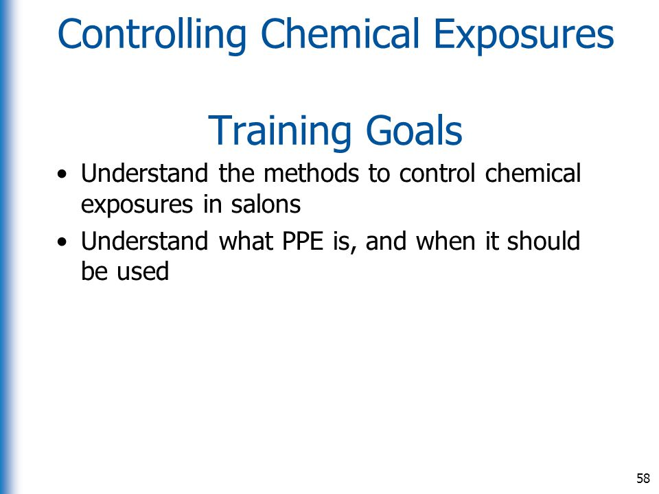Controlling Chemical Exposures Training Goals