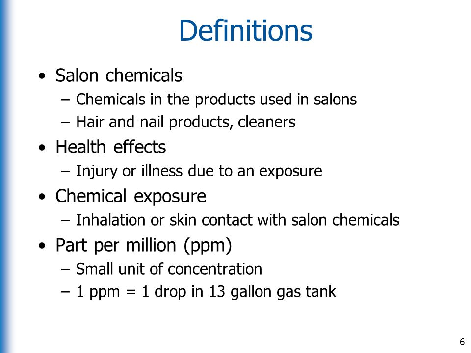 Definitions Salon chemicals Health effects Chemical exposure