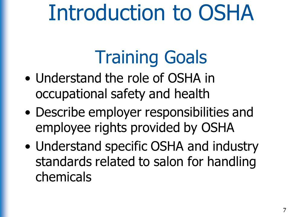 Introduction to OSHA Training Goals