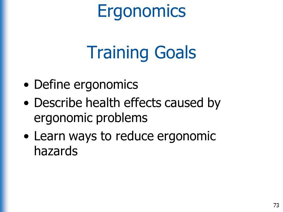 Ergonomics Training Goals