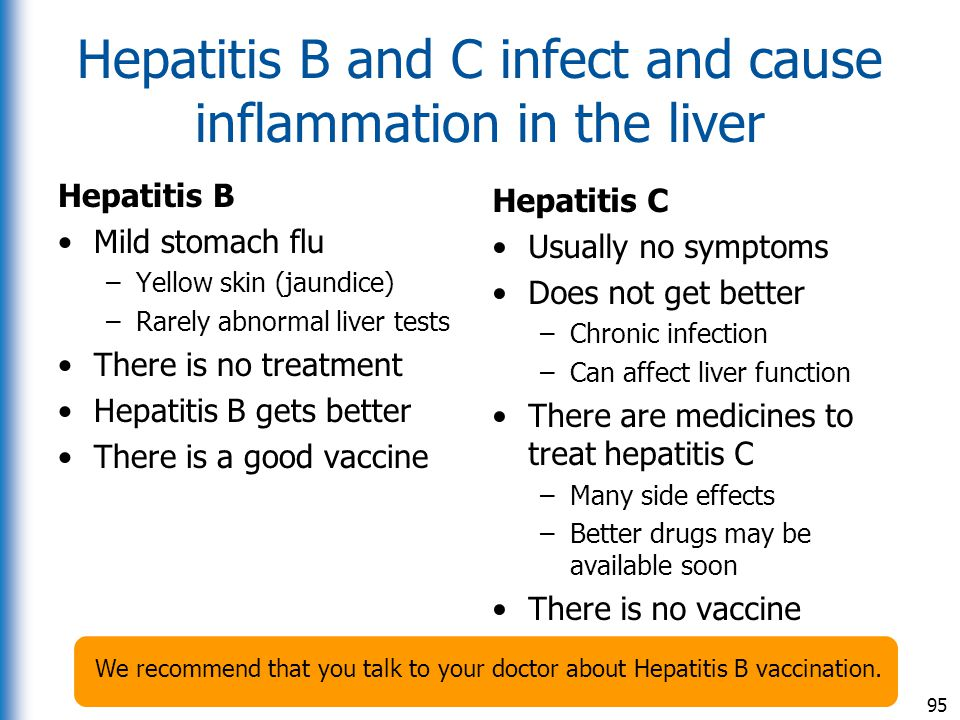 Hepatitis B and C infect and cause inflammation in the liver
