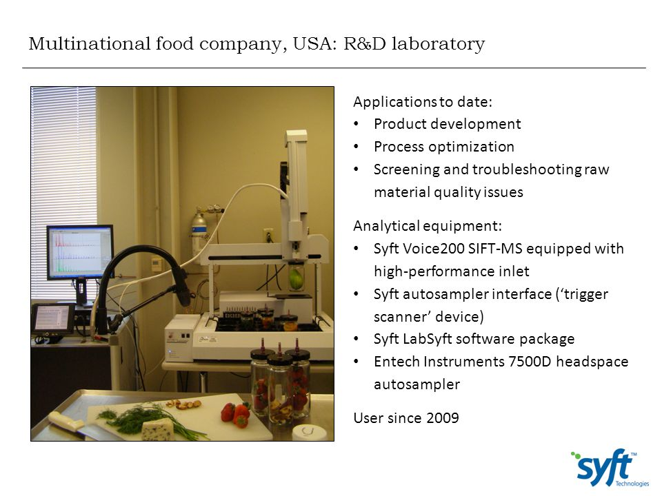 Multinational food company, USA: R&D laboratory