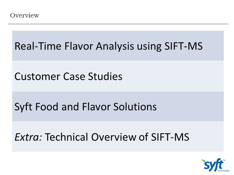 Real-Time Flavor Analysis using SIFT-MS Customer Case Studies