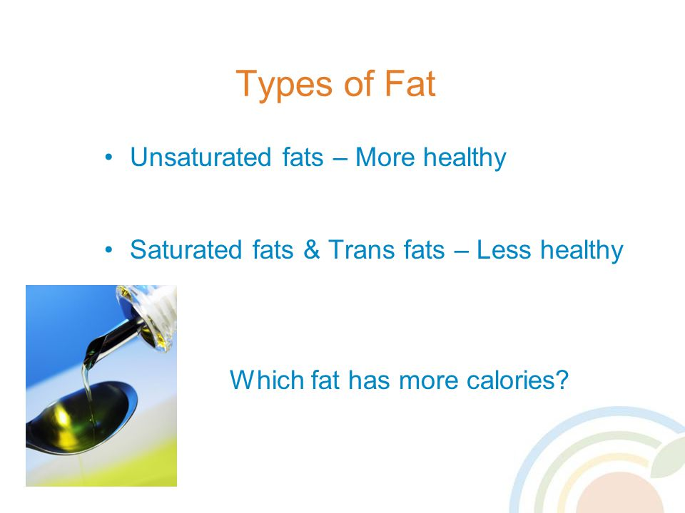Types of Fat Unsaturated fats – More healthy