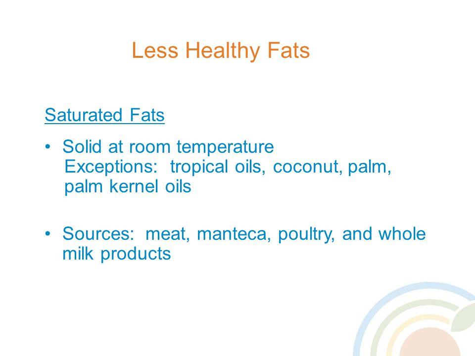 Less Healthy Fats Saturated Fats Solid at room temperature