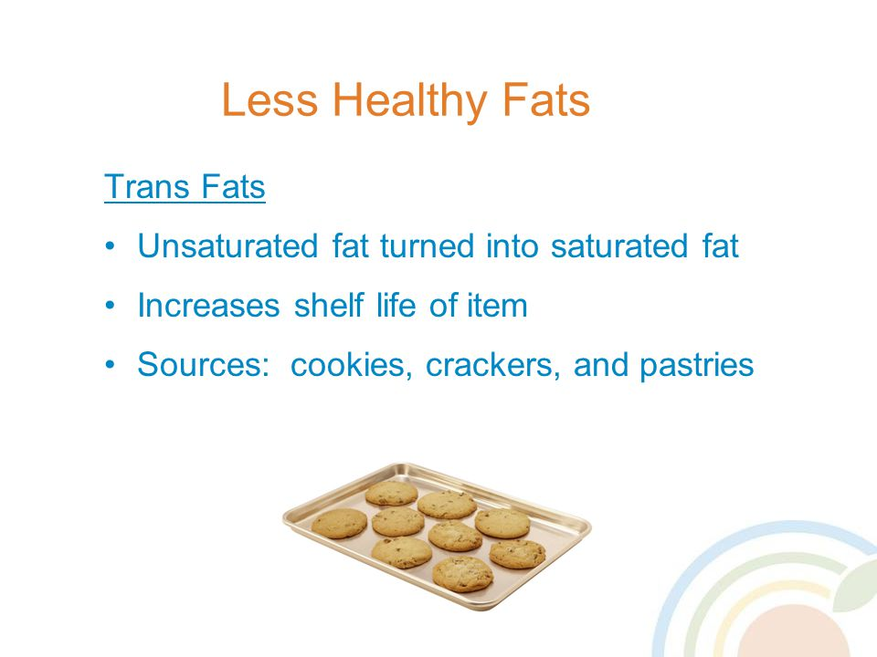 Less Healthy Fats Trans Fats Unsaturated fat turned into saturated fat