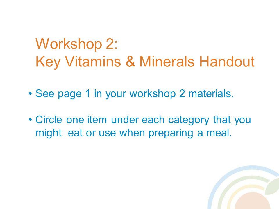 Workshop 2: Key Vitamins & Minerals Handout