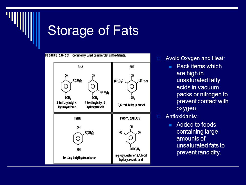 Storage of Fats Avoid Oxygen and Heat: