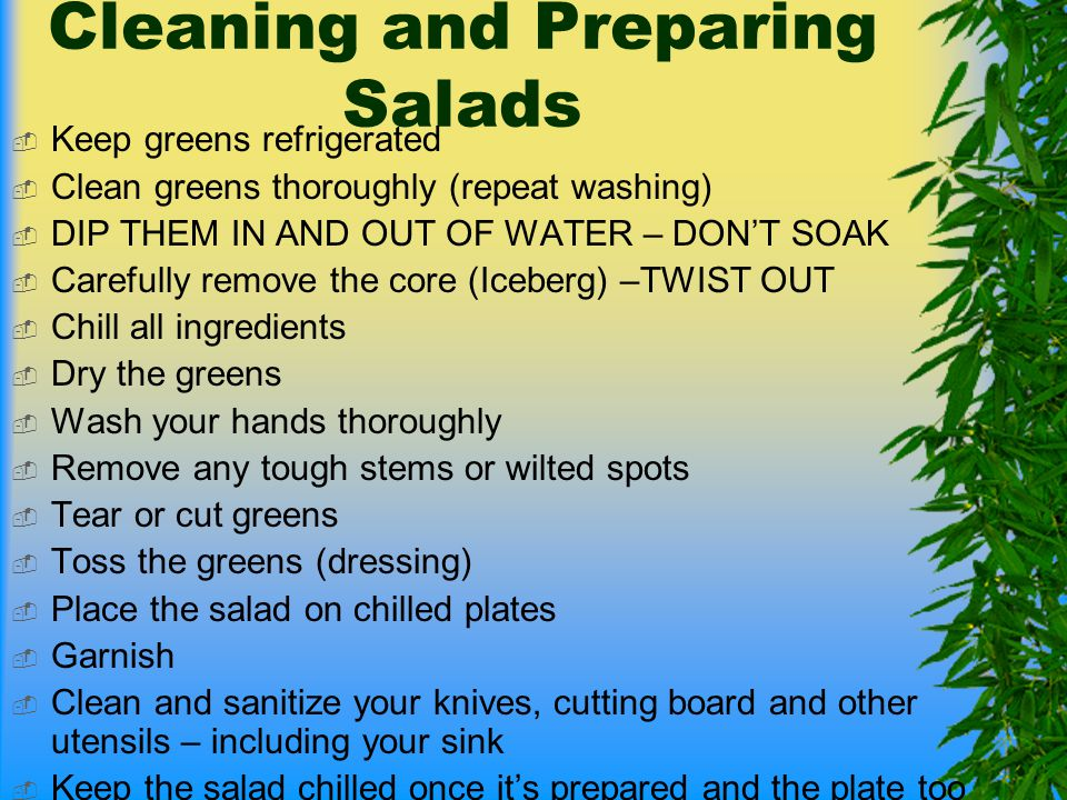 Cleaning and Preparing Salads