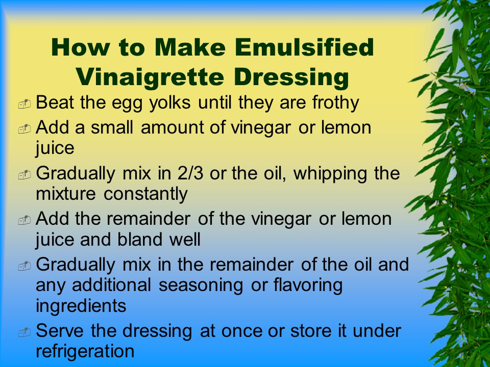 How to Make Emulsified Vinaigrette Dressing