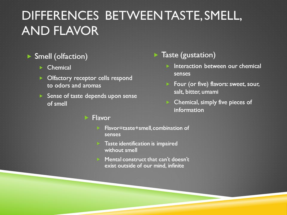 Differences between taste, smell, and flavor