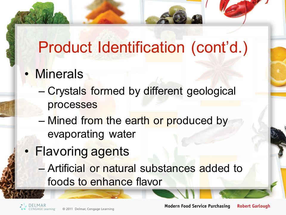 Product Identification (cont'd.)