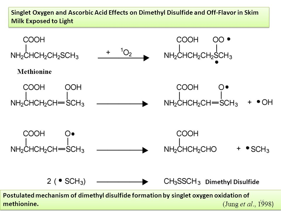 Singlet Oxygen and Ascorbic Acid Effects on Dimethyl Disulfide and Off-Flavor in Skim Milk Exposed to Light