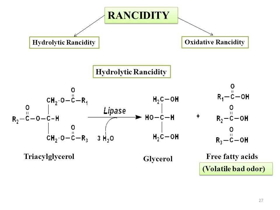 RANCIDITY Hydrolytic Rancidity Triacylglycerol Free fatty acids