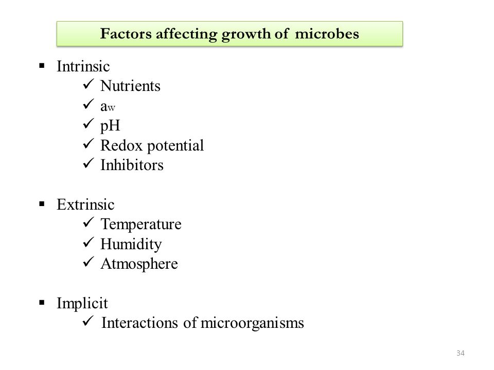 Factors affecting growth of microbes