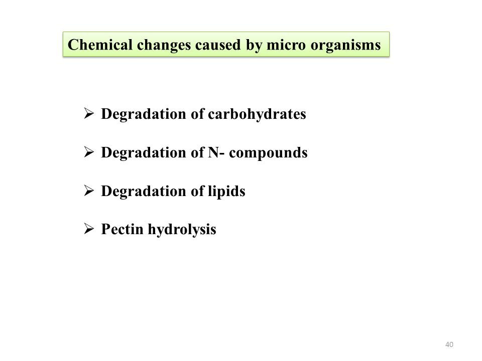 Chemical changes caused by micro organisms