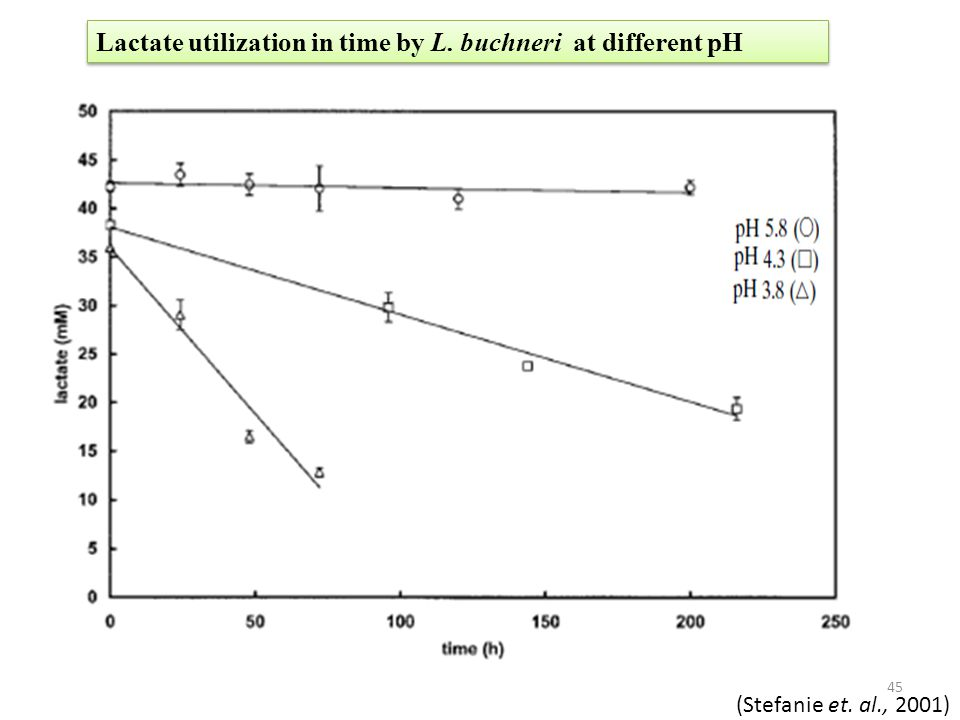 Lactate utilization in time by L. buchneri at different pH