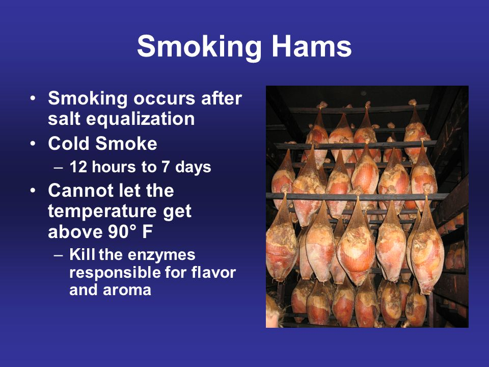 Smoking Hams Smoking occurs after salt equalization Cold Smoke