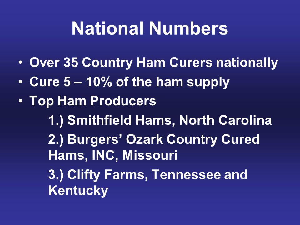 National Numbers Over 35 Country Ham Curers nationally