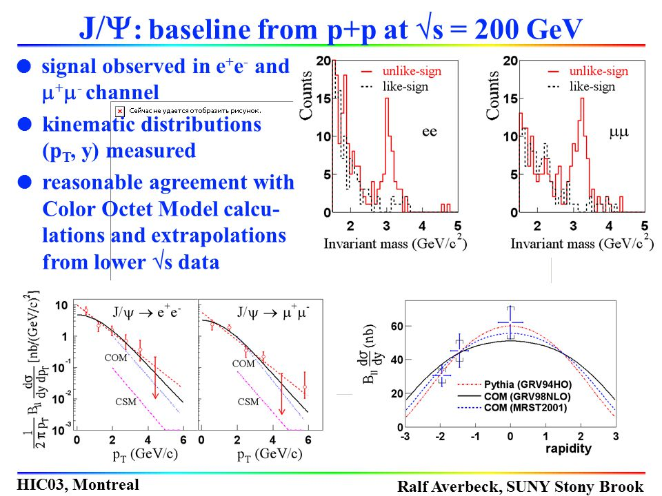 J/Y: baseline from p+p at s = 200 GeV