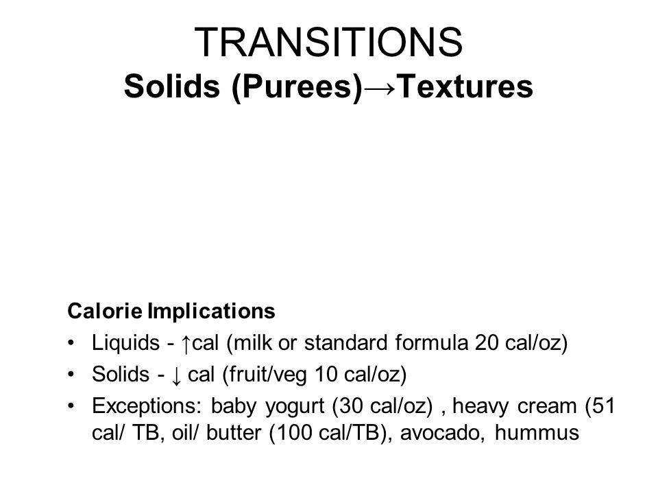 TRANSITIONS Solids (Purees)→Textures