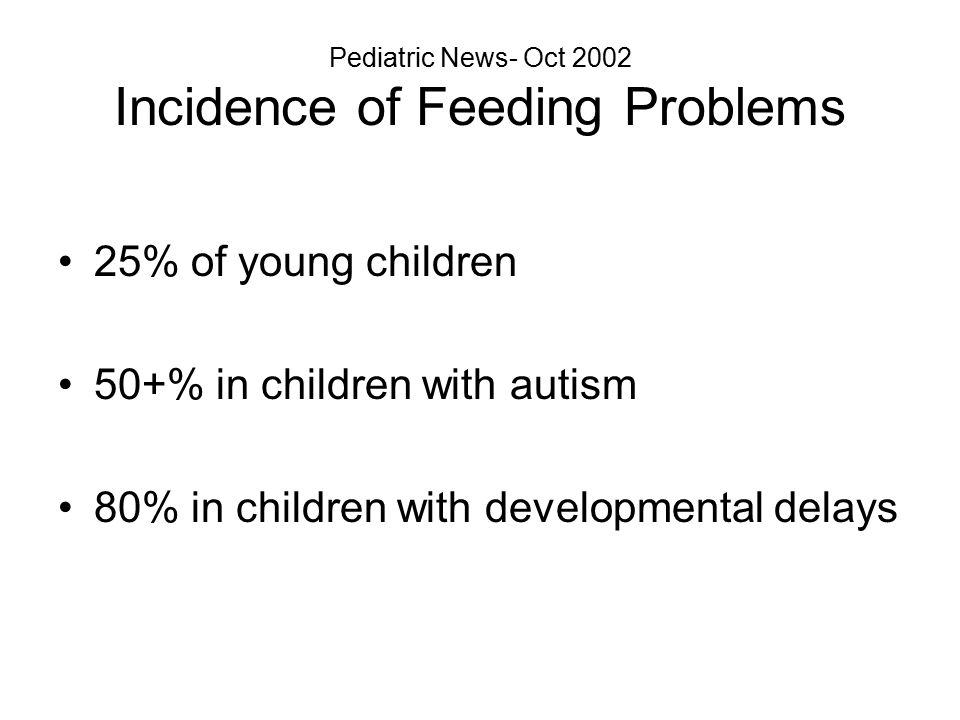 Pediatric News- Oct 2002 Incidence of Feeding Problems