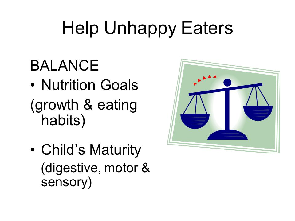 Help Unhappy Eaters BALANCE Nutrition Goals (growth & eating habits)