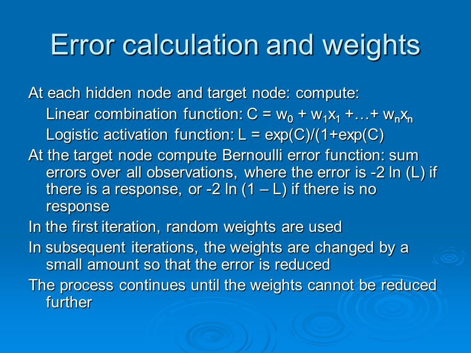Error calculation and weights