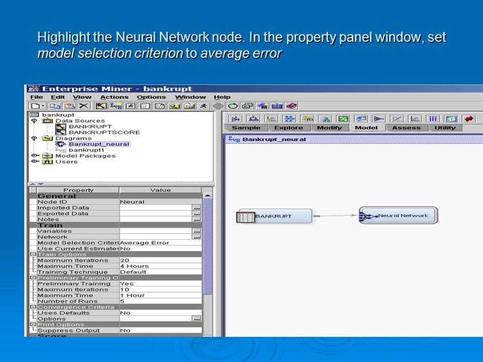 Highlight the Neural Network node