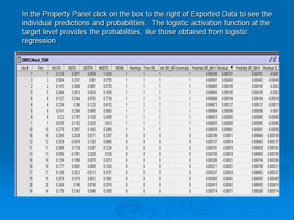 In the Property Panel click on the box to the right of Exported Data to see the individual predictions and probabilities.