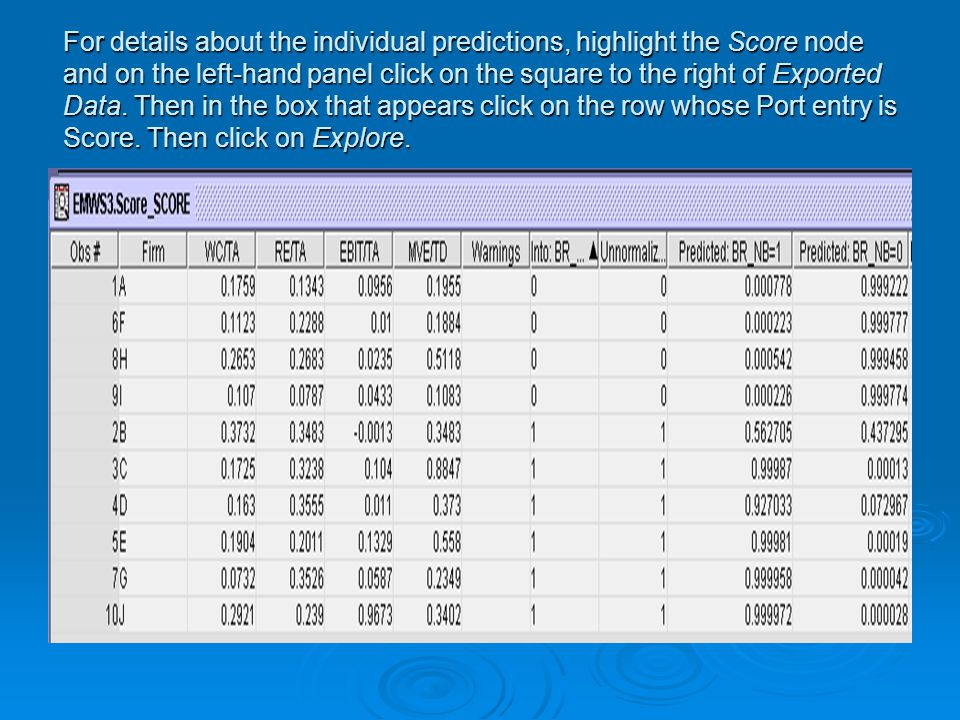 For details about the individual predictions, highlight the Score node and on the left-hand panel click on the square to the right of Exported Data.
