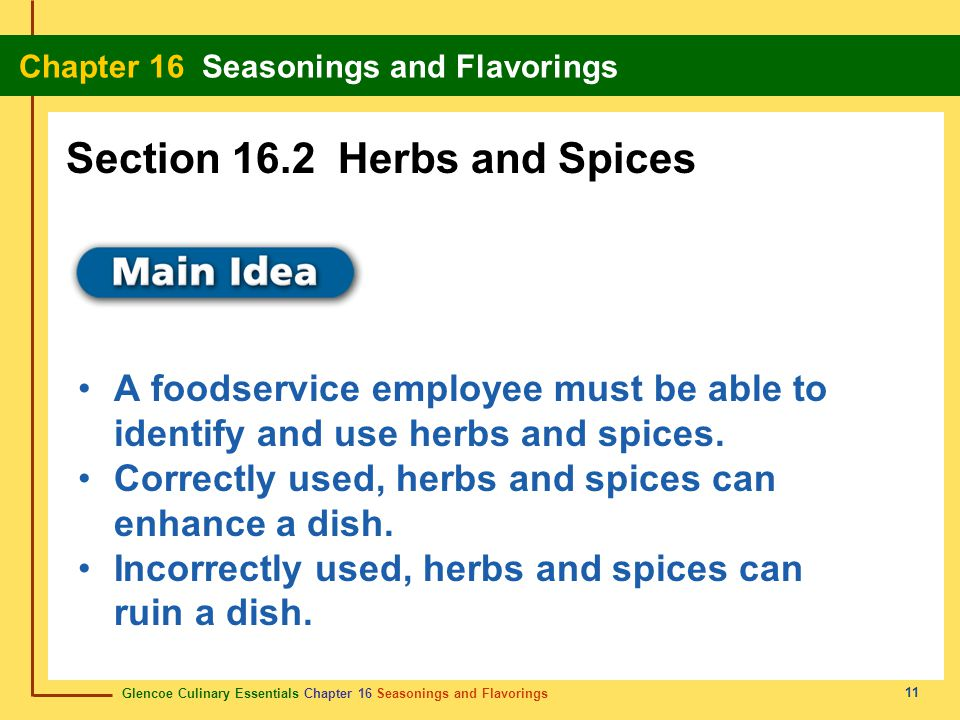 Section 16.2 Herbs and Spices