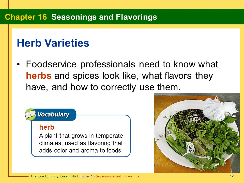 Herb Varieties Foodservice professionals need to know what herbs and spices look like, what flavors they have, and how to correctly use them.