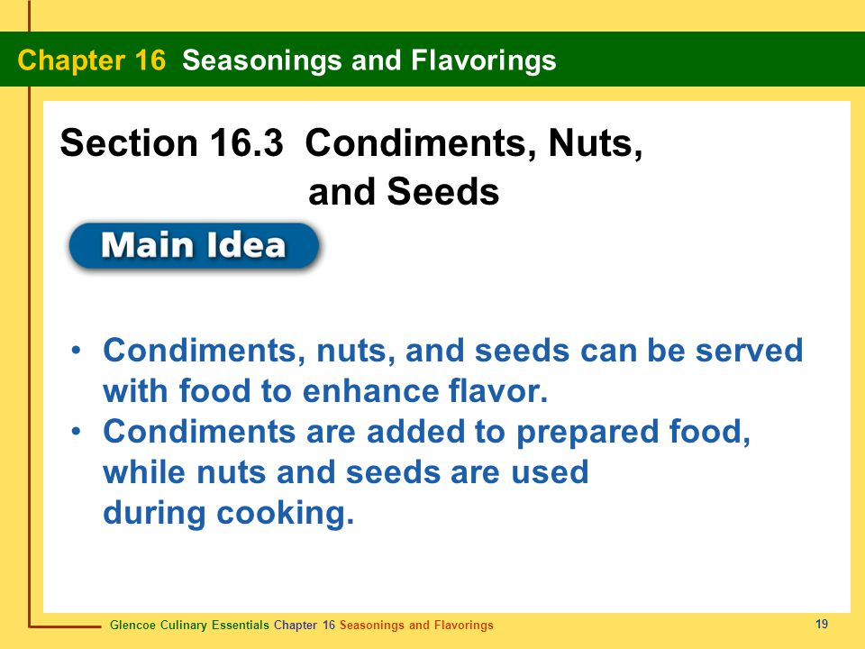 Section 16.3 Condiments, Nuts, and Seeds