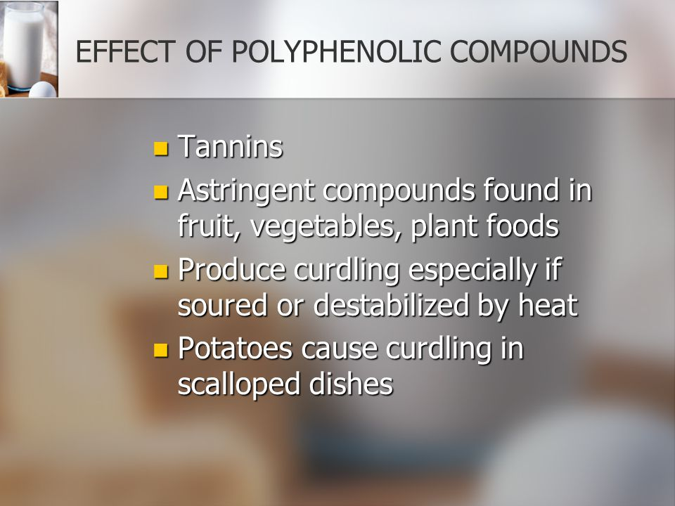 EFFECT OF POLYPHENOLIC COMPOUNDS