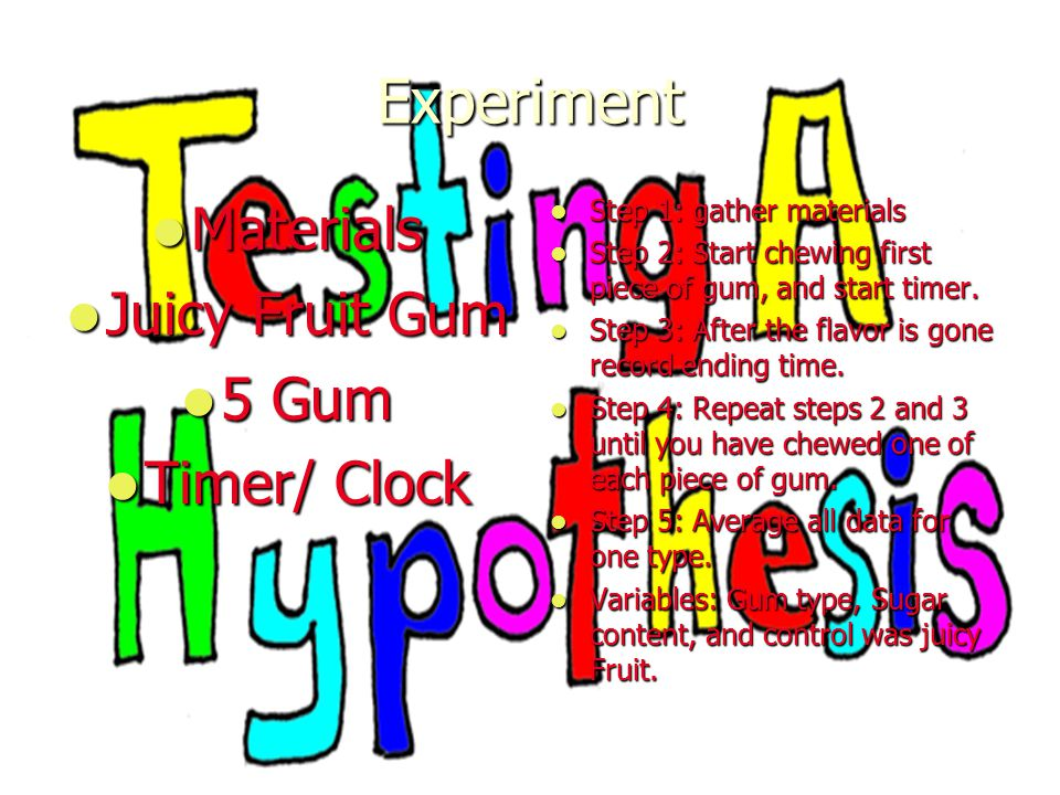 Experiment Materials Juicy Fruit Gum 5 Gum Timer/ Clock