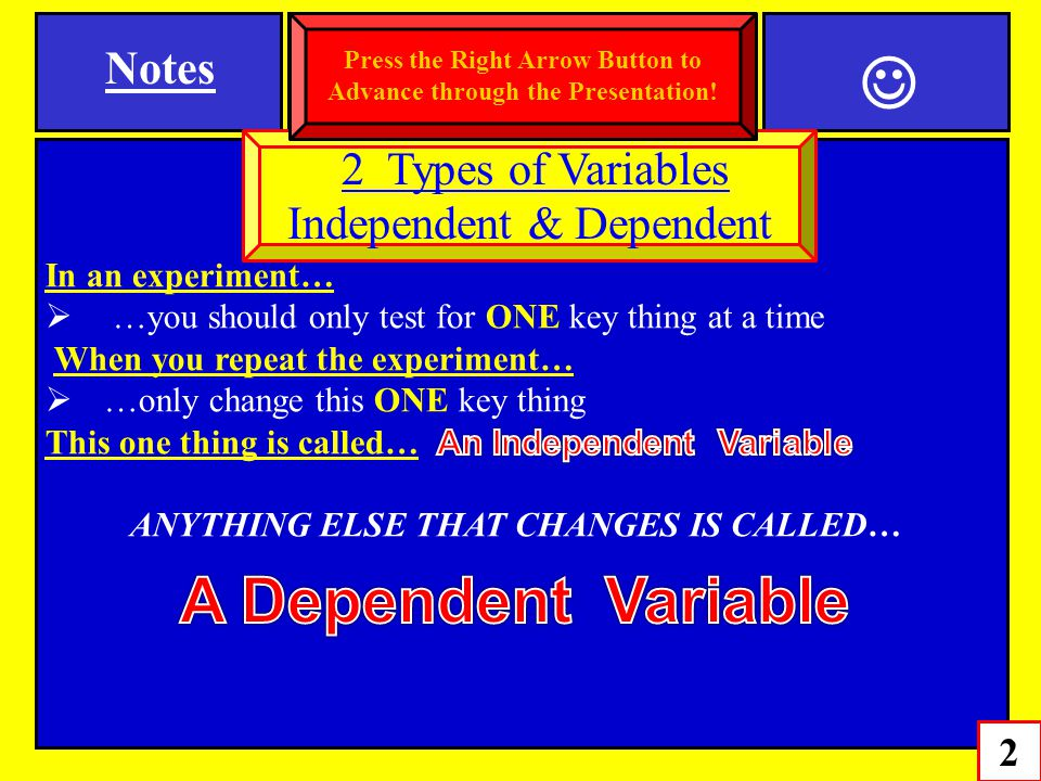A Dependent Variable Notes 2 Types of Variables