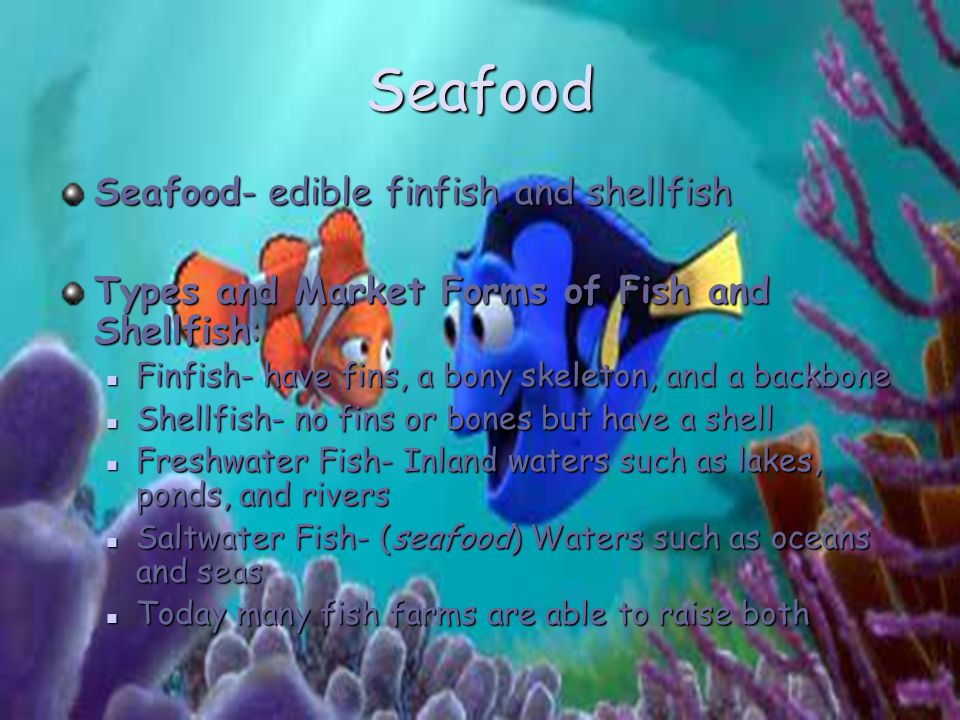 Seafood Seafood- edible finfish and shellfish