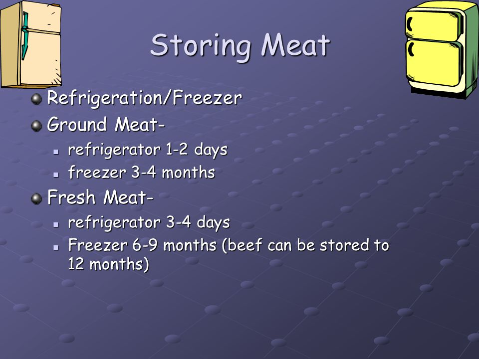 Storing Meat Refrigeration/Freezer Ground Meat- Fresh Meat-
