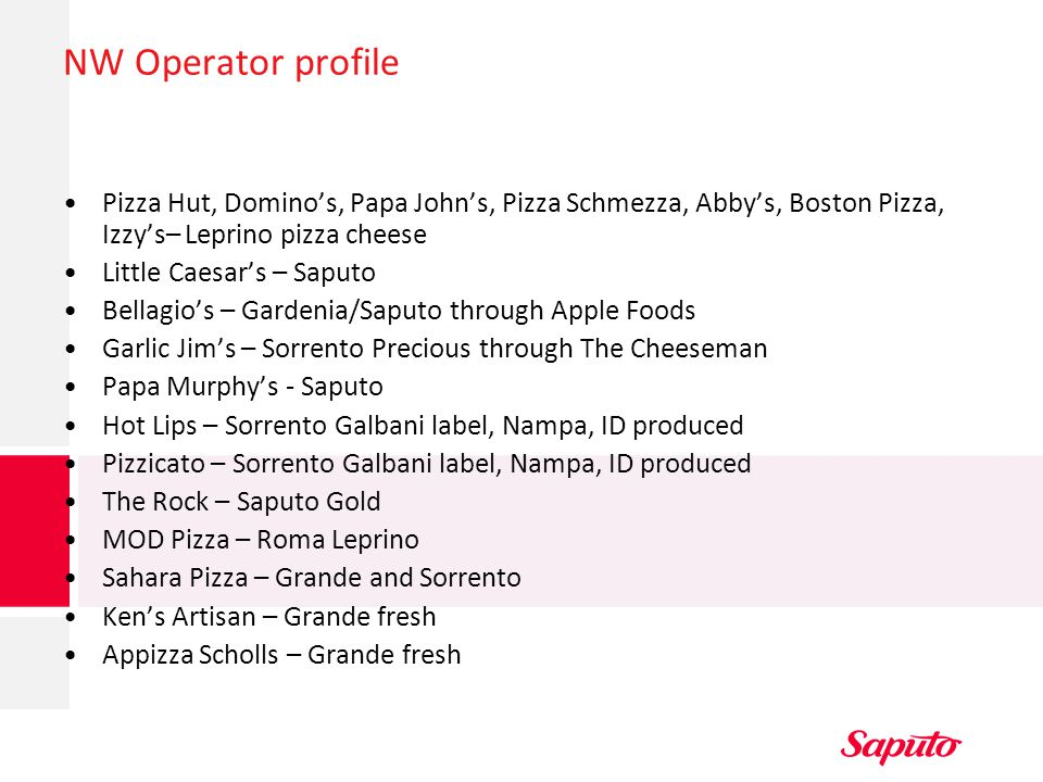 NW Operator profile Pizza Hut, Domino's, Papa John's, Pizza Schmezza, Abby's, Boston Pizza, Izzy's– Leprino pizza cheese.