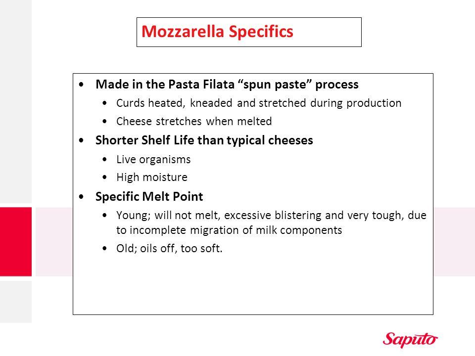 Mozzarella Specifics Made in the Pasta Filata spun paste process