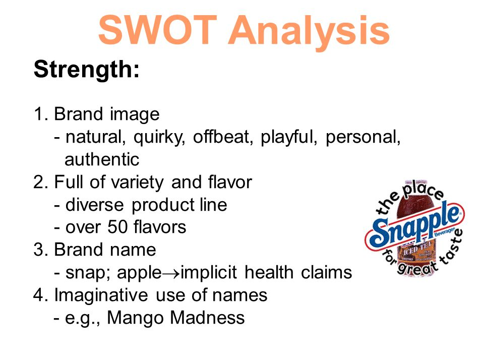 SWOT Analysis Strength: 1. Brand image